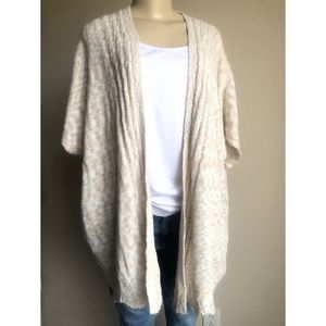 Style &Co Beige Short Sleeve Long Cardigan Sweater